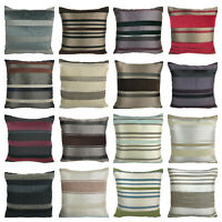 Set of 4 - Luxury Chenille Stripe Cushion Covers Shop with Zip Opening - 18x18""