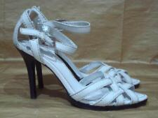 KAREN MILLEN UK 6 WHITE LEATHER STRAPPY SANDALS