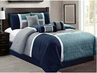 7 Piece Luxury Quilted Patchwork Comforter Set Bed in Bag, King Size , Navy
