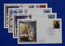 """Canada (1294-1297) 1990 Christmas Colorano """"Silk"""" FDC set"""