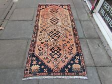 Shabby Chic Worn Vintage Hand Made Traditional Pink Blue Wool Large Rug 215x99cm