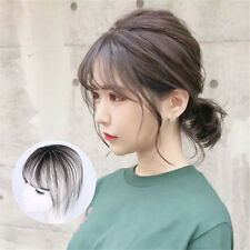 Women Fringe Clip In Toppers Human Hair Straight Top With Neat Air Bangs Toupee