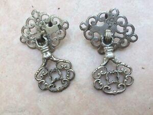 Pair of Vintage Silvered Metal Handles
