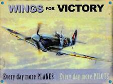 Wings for Victory, Spitfire Plane Pilot RAF War Vintage, Small Metal/Tin Sign