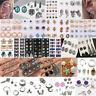 24Pair/set Women Fashion Rhinestone Crystal Pearl Ear Stud Earrings Jewelry Gift