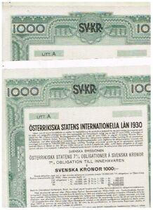 Set 2 Austrian Government Int. Loan 1930, 1000 Swedish Kronor, nicht ausgestellt