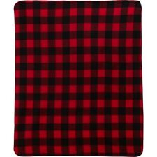"Northpoint Fleece Throw Blanket 50"" X 60"" NEW Buffalo Check Red / Black Plaid"