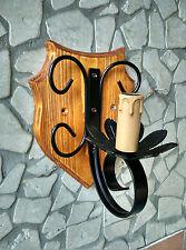 Applique lampada da parete rustico in ferro battuto e legno teak nero