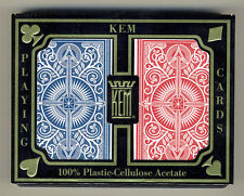 2 Deck Kem 100% Plastic Arrow Red Blue Bridge Narrow Jumbo Index Playing Cards