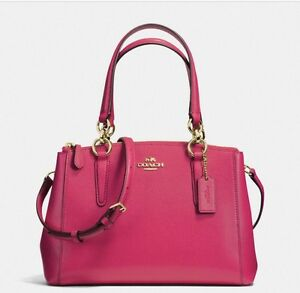 COACH MINI CHRISTIE CARRYALL IN CROSSGRAIN LEATHER BRIGHT PINK