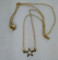 """12K Gold Filled Necklace Star pendant Chain 1/20 Vintage Signed CT 15"""" choker"""