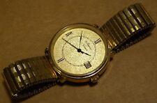 6 jewels movimento al quarzo Gents Orologio, Newton, con data, placcato in oro, 35 mm Custodia.