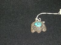 JR-62 - Sterling Silver pentent w/Turquoise stone 12mm round