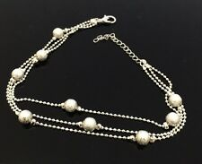 Ladies Girls Ball Anklet Ankle Bracelet Chain Adjustable Design Boho Silver Tone
