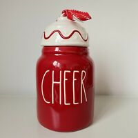 New Rae Dunn Small Baby Red Cheer Ornament Topper Canister - Christmas 2020