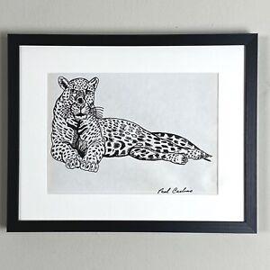 Paul Carlino - Reclining Leopard (1962, Pen on Paper) - Outsider Art
