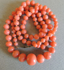 Natural NO DYE Coral Beaded Necklace Sterling Clasp 27 Grams