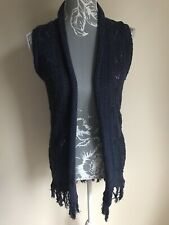 Jane Norman Women Crochet Cardigan Size 8 Navy Blue Sleeveless Fringe Hem Cotton