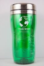 Thermo Mug Clear Green Plastic Exterior Insulated Stainless Steel Inside16Oz NEW