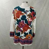 Vintage 90s Sweater Floral size Large Cottagecore fairykei Rose tunic Womens