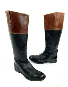 ENZO ANGIOLINI 'Ellerby' Two Toned Leather Tall Riding Boots Size 7.5 Med