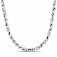 Amour Sterling Silver Rope Chain Necklace with Lobster Clasp (5mm)