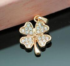 New 18K Rose Gold GP Four Leaf Clover Fashion Pendant With SWAROVSKI Crystal