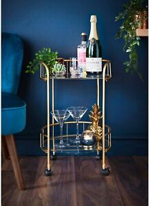 Gold Drink Trolley Glass Shelves Serving Bar Cart With Wheels Perfect for Home