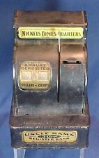 Vintage Uncle Sam's 3 Coin Register Bank Durable Toy Novelty Co Jackson Michigan
