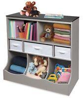 Toy Box Bin Storage Unit W/ Three Baskets Kids Bookcase Organizer Bedroom Wooden