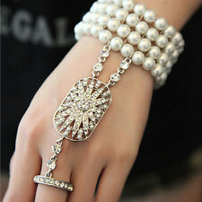 1920's Flapper Great Gatsby Daisy Style Silver Crystal Pearl Bracelet Ring Gift