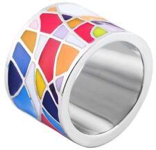 Akzent Damen Ring Edelstahl bunt Edelstahlring Damenring breit groß modern