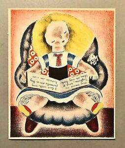 Original Vintage NURA NORAH WOODSON ULREICH Color Lithograph SYLVIA (Young Girl)
