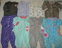 Baby Girl 3 Month Carters Snap Up Fleece Sleepers Fall Winter Clothes Lot