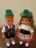 Vintage Boy Girl German Celluloid Souvenir Dolls Swiss Alps