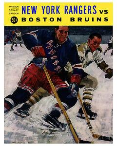 Rangers V Bruins 1960's MSG Game Program Cover, 8x10 Color Photo