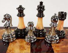 Staunton Chrome & Black Chrome Chess Men Set Weighted Pro Plastic - NO BOARD