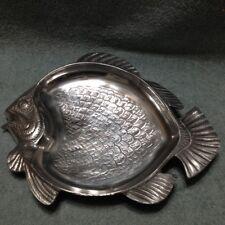 "Cast Aluminum Koi Fish  Serving Platter Dish10.5"" x 13 "" Shiny and Clean."