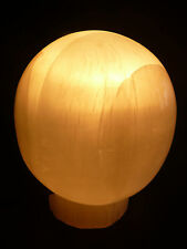 Natural selenite Crystal Ball Lamp with wire and bulb stunning when lit over 3kg