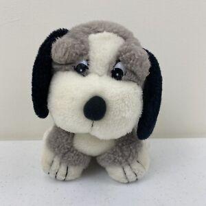 "Vintage Shalom Toy Co. Plush Puppy Dog White Grey Black Stuffed Animal 7"" Tall"