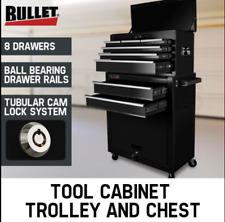 Black 8 Drawer Tool Box Cabinet with Castors Storage Toolbox Garage Organiser