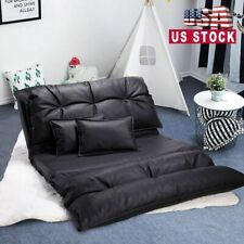 Pu Leather Foldable Floor Chair Sofa Bed Video Gaming Lounge w/2 Pillows Black