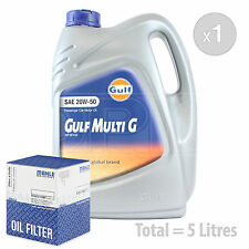 Engine Oil and Filter Service Kit 5 LITRES Gulf Multi G 20w-50 Engine Oil 5L