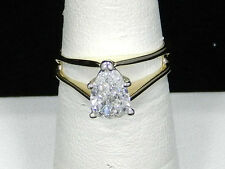 Certified 1.07 carat Pear Shape Diamond Solitaire Wedding 14K Yellow Gold Ring