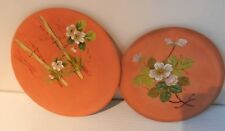 VICTORIAN LONG PARK TORQUAY HANDPAINTED TERRACOTTA PLATES (2)