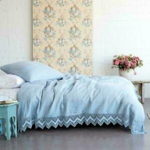 RACHEL ASHWELL COUTURE Indigo Cluncy Lace FULL/ QUEEN DUVET Shabby Chic NEW $490