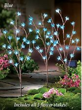Set of 3 Solar Powered Lighted Blue Flower Blooms Branch Garden Stakes