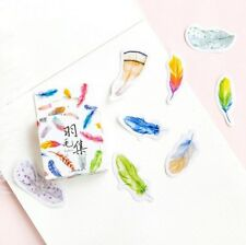 DIY 45X/pack Mixed Feather shape sticker decorative Diary album Sealing stickers