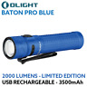 Olight Baton Pro 2000 lumen rechargeable LED torch BLUE LIMITED EDITION