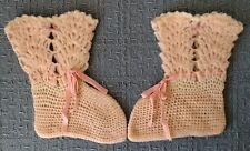 Antique ~ Handmade ~ BABY BOOTIES ~ Cream Wool ~ Pink Ribbon Ties